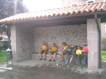 Taking shelter from the storm at Oronoz Mugain