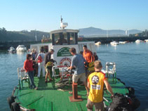 Placing the bikes onto the boat shuttle
