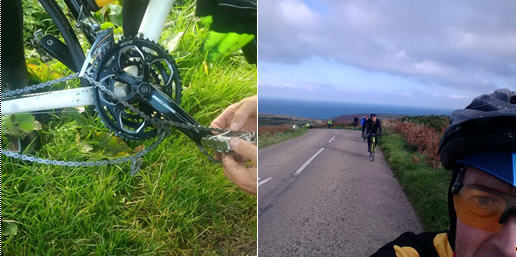 Left: the fiendish mechanical, and Right: climbing on the coastal section